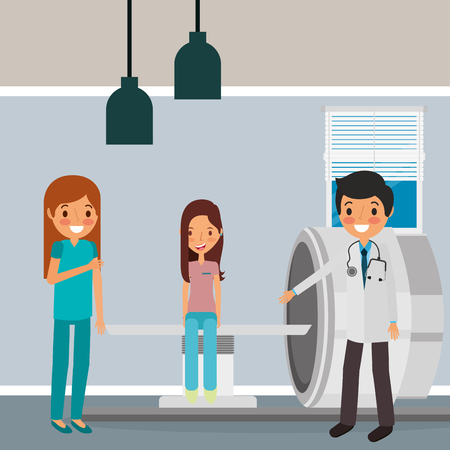 medical doctor nurse with female patient and machine scanning vector illustration  イラスト・ベクター素材