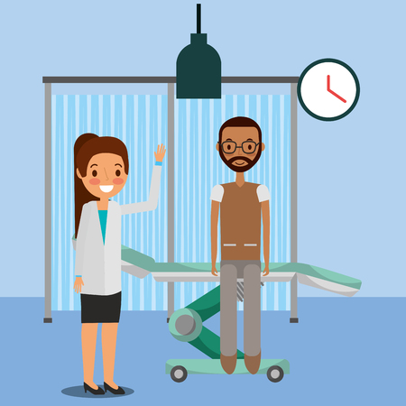 medical people professional female with patient in the stretcher consultation room vector illustration Illustration