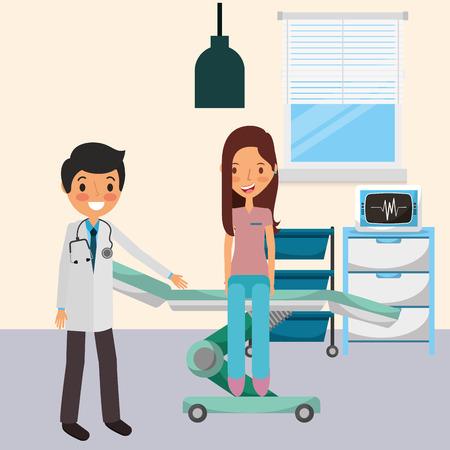 ストレッチャーベクトルイラストに座っている患者を持つ医師