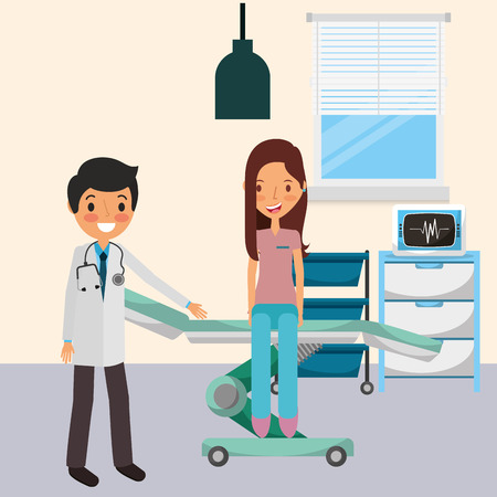 medical doctor with patient sitting in the stretcher vector illustration Illustration