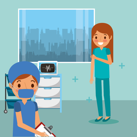medical people professional in room consultation with monitoring machine and window vector illustration