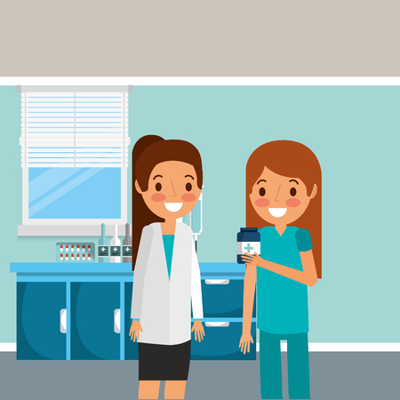 medical female doctor and nurse holding bottle medicine vector illustration
