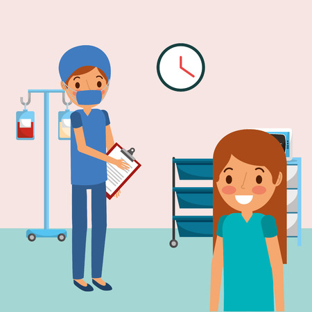 medical people professional in room consultation with iv stand clipboard vector illustration