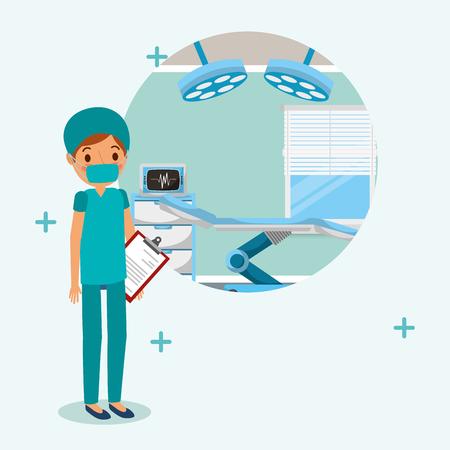 診察ベクターイラストの報告と手術の制服の医師の医療