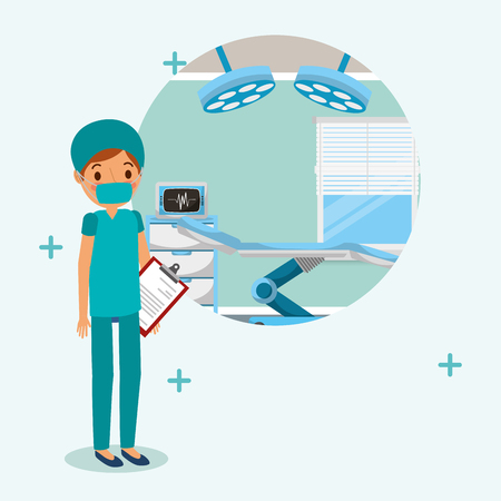 doctor medical in surgery uniform with report in consultation  vector illustration Illustration