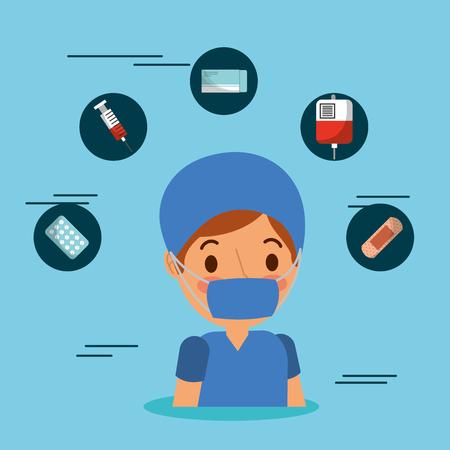 medical people professional surgeon mask icons medicine vector illustration