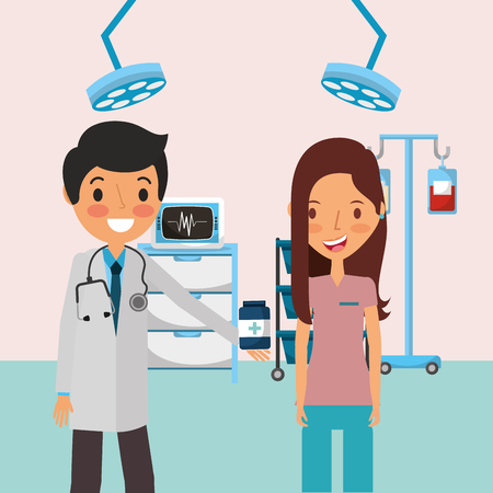 medical doctor with woman patient and consultation room vector illustration