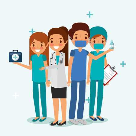 people team medical professional with stethoscope clipboard and kit medicine  vector illustration
