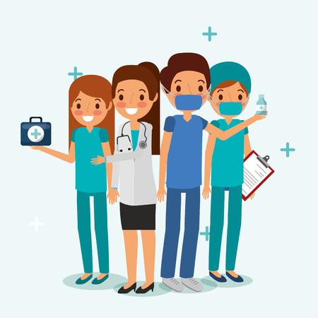 Equipo de personas profesional médico con portapapeles estetoscopio y kit de medicina ilustración vectorial