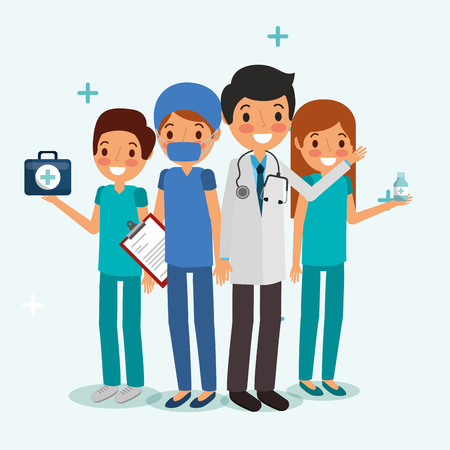 people team medical professional medicine clipboard  vector illustration