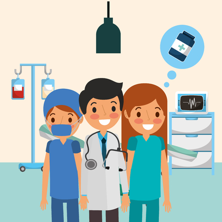 people team medical talking medicine with iv stand ekg machine  vector illustration