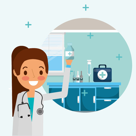 female doctor with stethoscope holding bottle pharmacy  vector illustration