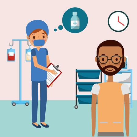 doctor medical and male patient prescription medicine healthcare  vector illustration