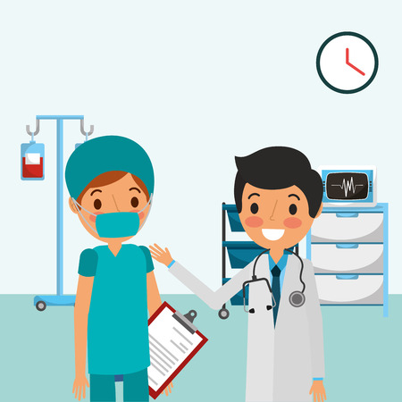 medical doctor with stethoscope nurse in consultation and ekg machine iv stand  vector illustration Çizim