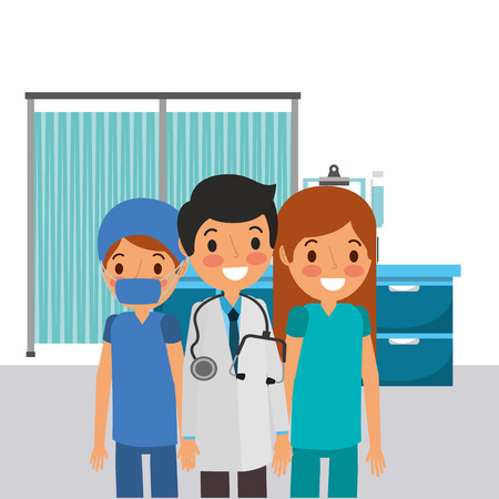 people team medical professional doctor male nurse  vector illustration
