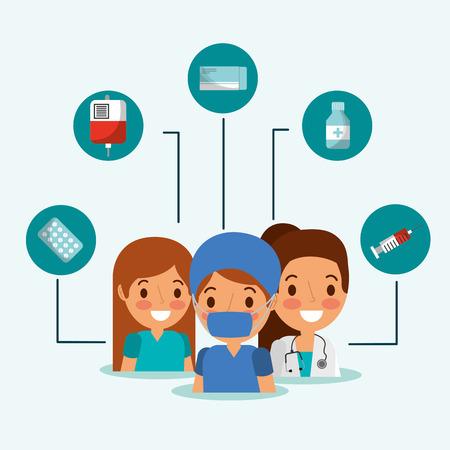 people team medical packaging pills bandage and bottles medicine vector illustration Illustration