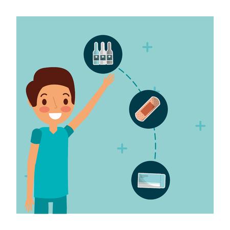 doctor medical character packaging pills bandage and bottles medicine vector illustration