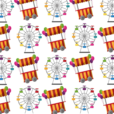 carnival ferris wheel and booth balloons vector illustration