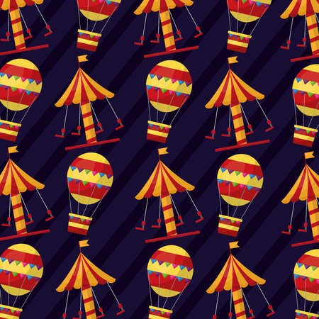 carnival carousel air balloon funny pattern vector illustration