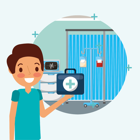 doctor medical character holding kit first aid in the room ekg machine iv stand  vector illustration