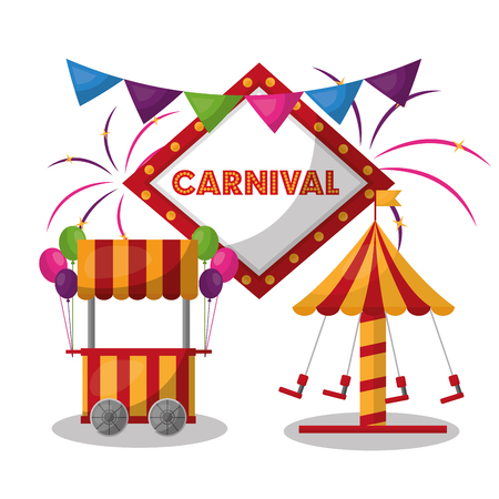 carnival carousel booth board light and fireworks vector illustration Illustration