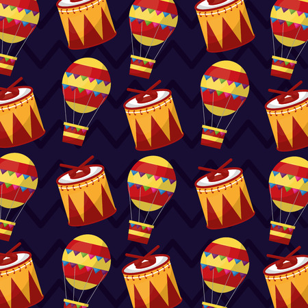 carnival show festive drum and air balloon pattern vector illustration Illustration