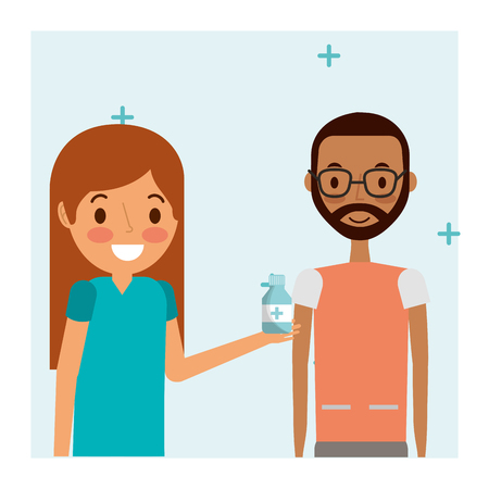 female doctor physician holding medicine with patient male  vector illustration
