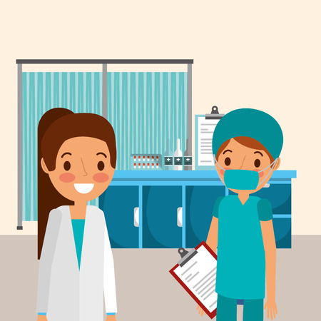 female doctor and nurse with mask holding report medicine  vector illustration Stockfoto - 97722742