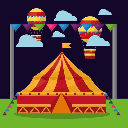carnival circus tent flying air balloons in the night funfair festival vector illustration