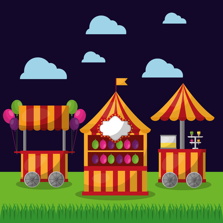 carnival booths food   and ice cream funfair festival vector illustration