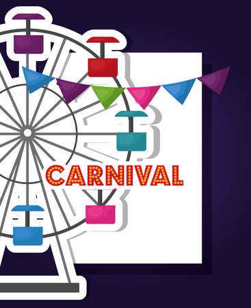 carnival fair festival ferris wheel vector illustration