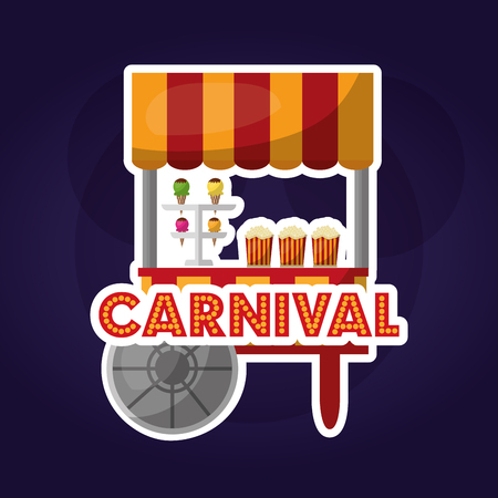 carnival fair festival booth pop corn and ice cream vector illustration