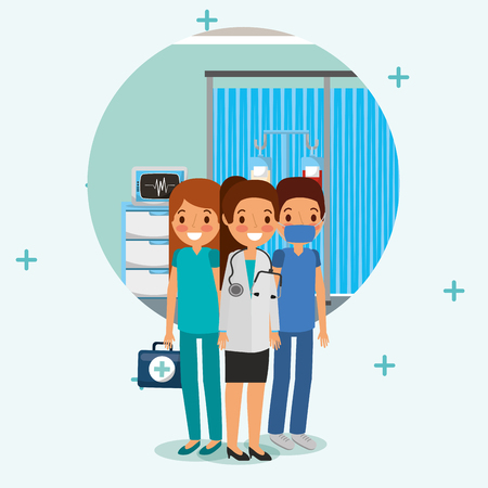 people team medical with stethoscope kit first aid in the room  vector illustration 向量圖像