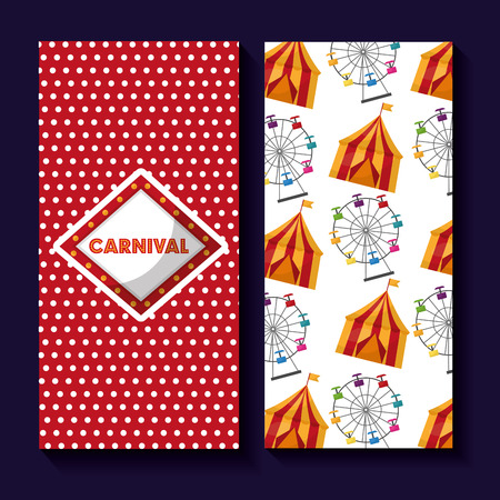 carnival banner ferris wheel and tent image vector illustration Illustration