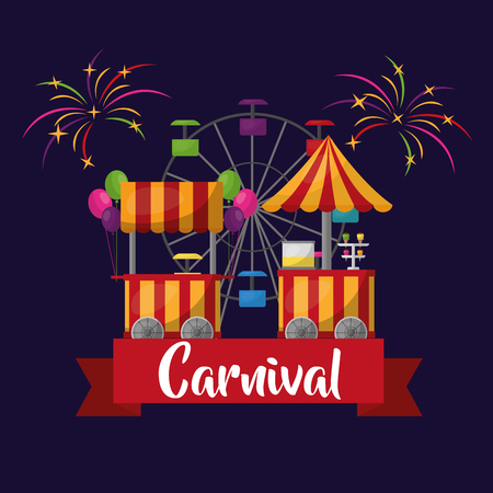 carnival festival ferris wheel and booths food ice cream fireworks vector illustration