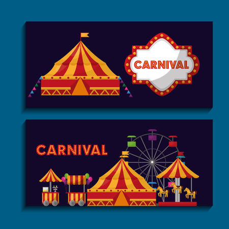 carnival fair festival banners invitation vector illustration