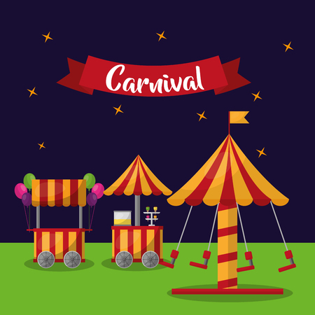 carnival carousel booths ice cream balloos and star background vector illustration Illustration