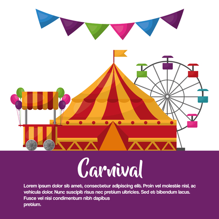 carnival circus tent booth ballons ferris wheel leisure fun vector illustration 스톡 콘텐츠 - 97726518
