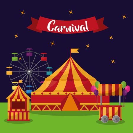 carnival fair festive amusement invitation card vector illustration Standard-Bild - 97726520