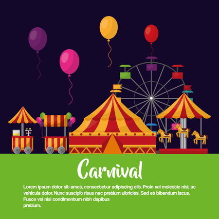 carnival fair festival park advertising poster vector illustration