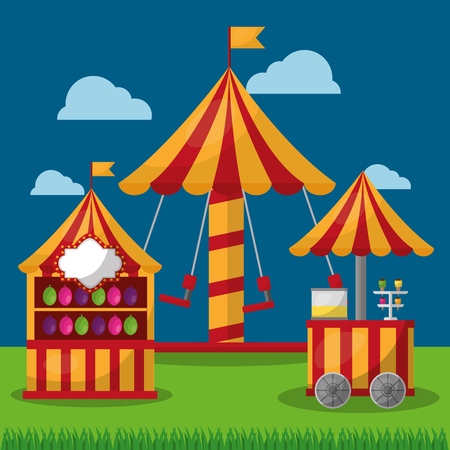 carnival fair festival carousel booth   and food cart vector illustration