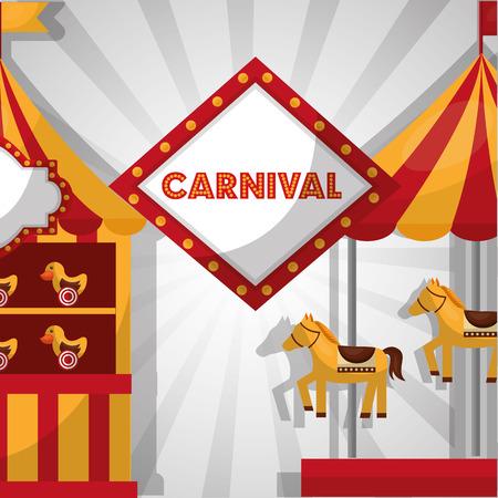 carnival fair festival carousel horses booth   ducks vector illustration Illustration