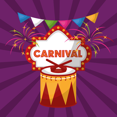 carnival celebration music drum sticks fireworks vector illustration