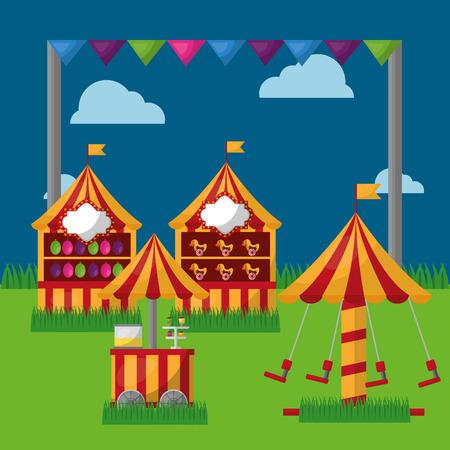 carnival fair festival carousel food cart booths   in the meadow vector illustration Stock Vector - 97726623