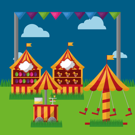 carnival fair festival carousel food cart booths   in the meadow vector illustration