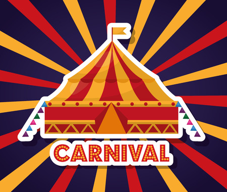 carnival tent fair festival in starburst background vector illustration