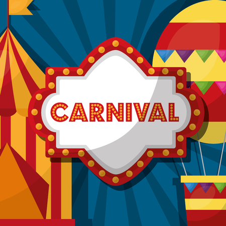 carnival fair festival board tent air balloon vector illustration