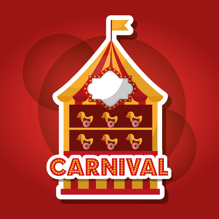 carnival shooting game ducks booth vector illustration