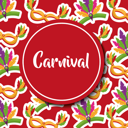 carnival decorative mask feathers label vector illustration Illustration