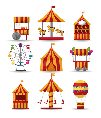 carnival collection circus park enjoy elements vector illustration